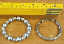 2 Estate Sale Jewelry Bangle Bracelets. Silver color Pearls, diamond look