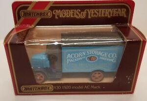 "Y-30 1920 Model ""AC"" Mack Truck'; Acorn Storage; Matchbox Models of Yesteryear"