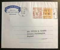 1955 Singapore Malaya Air Letter Aerogramme  Cover To Grendon England