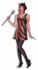Hot Devil Dazzler Halloween Costume Women Halloween Retro Sequin Dress Demon Std