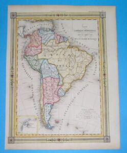1848 ORIGINAL MAP SOUTH AMERICA ARGENTINA PATAGONIA CHILE COLOMBIA PERU BOLIVIA