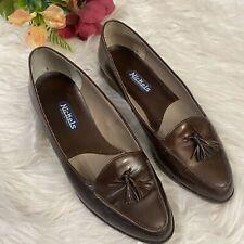 NICKELS Women's Brown Leather Tassel Loafers School Shoes sz 7BItaly