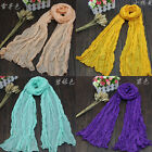 Fashion Womens Girls Soft Crinkle Long Pure Candy Scarf Wrap Shawl Stole