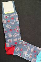 Paul Smith Mens English Socks Collage Objects F825 One Size Cotton Mix Sky Blue