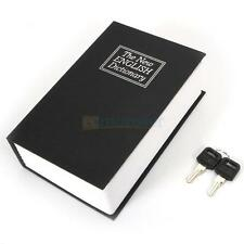 Home Security Dictionary Book Safe Cash Jewelry Money Storage Key Lock Box Black