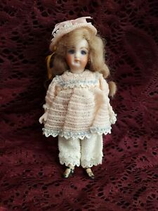 """Artist Reproduction Miniature All Bisque Girl Doll W/ Cute Knit Outfit 5"""""""