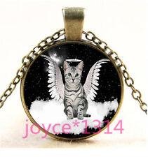 Vintage Angel Cat Cabochon bronze Glass Chain Pendant Necklace TS-6193
