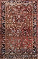 Antique Geometric Heriz Hand-knotted Area Rug Home Decor Oriental 7x9 ft Carpet