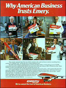 1983 Emery Worldwide Business Delivery Service Aircraft retro photo print ad S19