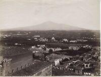 Catania Panorama Sicilia Italia Fotografia Vintage Albumina c1880