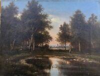 Spätromantiker A.H. Monogramm Abendstimmung mit Person am Ufer 19. Jahrhundert