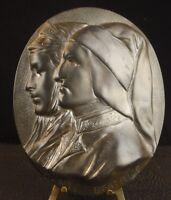 Medal Dante Alighieri and Beatrice Poet and Writer Italian Medal 137 MM