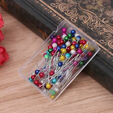 100Pcs Dressmaking Sewing Pin Straight Pins Round Colorful Head Pearl Corsage
