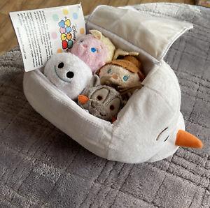 "Disney Store Frozen Olaf 10"" Tsum Tsum Bag Set of 4 Elsa Anna Sven Snowgie SET"