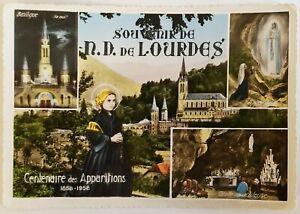 Souvenir de Basilique N.D. de Lourdes Cenlenaire des Apparitions France Postcard