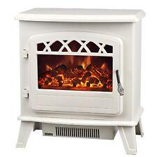 Manor 3127 Zodiac Electric Stove 2 Setting Fire Heater Log Effect - Cream