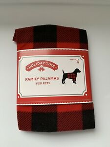 NEW HOLIDAY TIME FAMILY PAJAMAS FOR PETS RED/BLACK (M)