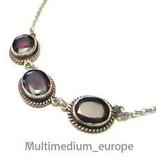 880er Silber Granat Halskette Collier garnet silver necklace 925 Sterling chain