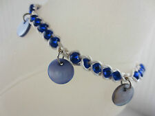 Good Fortune Blue Mother of Pearl/Glass Bead Wrist Ankle Bracelet Anklet Luck