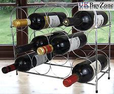 3 Tier Chrome Wine Storage Display Rack Holder Stand 12 Bottles