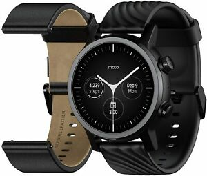 Motorola Moto 360 (Gen 3) Stainless Steel Case Leather and Silicone Bands Black