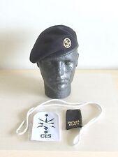 Royal Navy-Issue Rating's Beret, Trade Badge, Rank Slide & Lanyard. Size 56cm.
