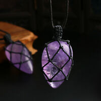 Handmade Crystal Jewelry Necklace Natural Stone Amethyst Pendant Wrapped