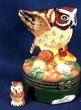 Owl on a Log Hunting a Mouse Ceramic Trinket Box Wildlife
