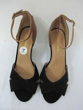 NEW ARRIVAL! CITY CLASSIFIED BLACK BROWN WEDGES SHOES SANDALS 7 37 SALE