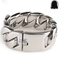 HEAVY WIDE Men's Chain Stainless Steel Curb Cuban Chain Bracelet Silver Polished