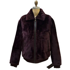 BOMBER BURGUNDY SHEARED SHEARLING MOUTON FUR COAT JACKET, LEATHER TRIMMING,  XL