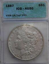 """1887 Morgan Silver Dollar VAM-1A """"Donkey Tail"""" die break  AU50"""