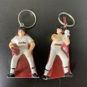 Vintage Pair Skore 1988 Baltimore Orioles MLB Baseball Player Figural Keychain