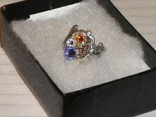 Steampunk Women's Silver Adjustable Ring With 3 Swarovski Crystals. Unique.