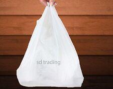 "200 White Plastic Vest Carrier Bags Jumbo Giant 16"" x 25"" x 25"" XXL 22 Micron"