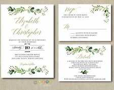100 Personalized Greenery Wedding Invitations Suite Modern Rustic with Envelopes