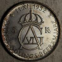 SWEDEN SILVER TONED PROOF-LIKE 5 KRONOR 1952