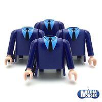 playmobil® 4 x Oberkörper mit Arme blau | Pistolenhalfter | Beamte | Polizei