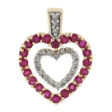 Yellow Gold Ruby & Diamond Hearts Enhancer Pendant -14k Round 2.80ctw Two-In-One