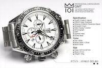HYAKUICHI 101 GMT Watch White 200m Scuba DIVERS Chronograph CITIZEN Movement New