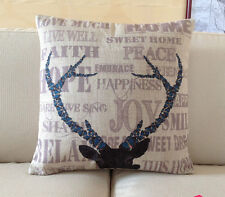 Decorative Pillow Cover Linen pink words Deer Antlers head print cushion case 18