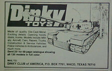 1974 Dinky Toy Diecast Club Cars~Tanks Models Promo AD