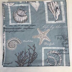 Mainstays Coastal Life Aqua Blue Fabric Shower Curtain 70x72 Polyester