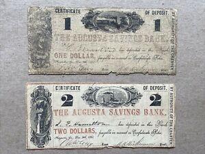 1861 $1 Certificate of Deposit & 1861 $2 Certificate of Desposit