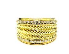 David Yurman Lady's 18K Yellow Gold Cable Signature Diamond Ring 0.86CT WOW