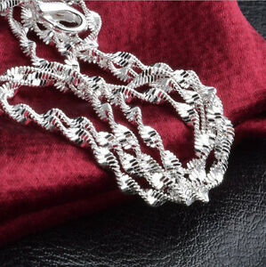 1Pcs 16-30inch Jewelry Lot 925 Silver Double Water Wave Chain Necklace Pendant