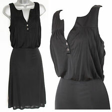 KAREN MILLEN Black Stretch Jersey Front Buttons Formal Shift Dress UK 10  EU 38