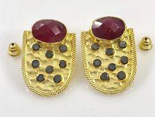 Genuine Ruby Shield 22kt Gold Over Sterling Silver Dangle Earrings