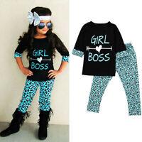 2PCS Toddler Kid Baby Girl Outfits T-shirt Tops Dress+ Long Pants Clothes Set US