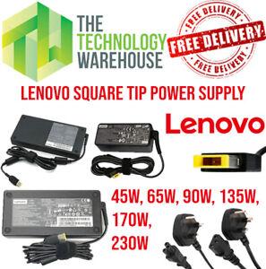 Genuine Lenovo Charger PSU - Square Tip - 45w - 65w - 90w - 135w - 170w - 230w